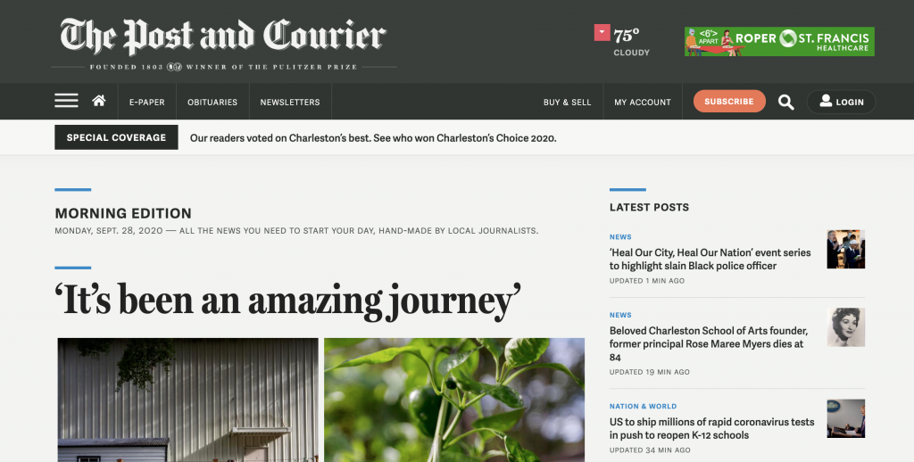 Post and Courier homepage