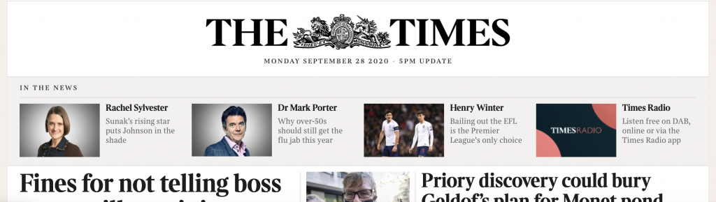 The Times homepage